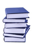 Pile of books. Pile of blue thick books isolated on white background royalty free stock photos