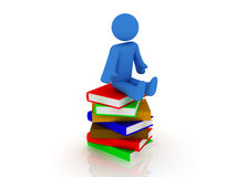 Pile of books. 3d render of pile of books with person Royalty Free Stock Images
