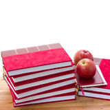 Pile of books and apples Royalty Free Stock Images