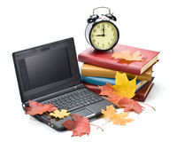 Pile of books and autumn leaves Royalty Free Stock Image