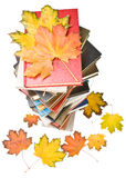 Pile of books and autumn leaves Stock Photo