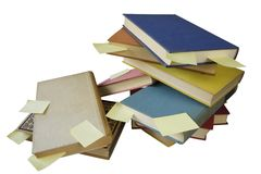 Pile of  books with blank stickers free copy space Royalty Free Stock Image