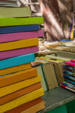 A pile of books book collection. In the book flea market set a pile of books waiting to be processed Royalty Free Stock Photography