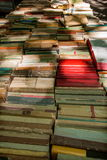 A pile of books book collection. In the book flea market set a pile of books waiting to be processed Stock Photo