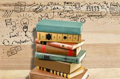 Pile of books. Book stack old dictionary education textbook Royalty Free Stock Image