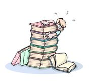 Pile of books and boy. Boy and pile of books stock illustration