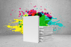 Pile of books with bright ideas Royalty Free Stock Photography