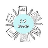 Pile of books and coffee or tea cup with heart symbols. I love reading concept for libraries, book stores, festivals. Fairs and schools. Line icon. Vector stock illustration