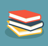 Pile of books. Colored books design in flat style. Vector stock Stock Photo