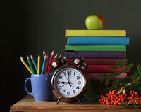 Pile of books in colorful covers, pencils, alarm clock and a bra. Stack of books in colorful covers, pencils, alarm clock and a branch of mountain ash on the Royalty Free Stock Photo