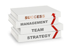 Pile of books covered management, team, strategy, success and ar Royalty Free Stock Photos