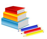 Pile of books and crayons Royalty Free Stock Photo