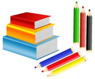 Pile of books and crayons Stock Photos