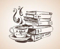 Pile of books with cup of tea. On white background Stock Photography