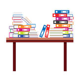 Pile of Books and Document File Folders on a Wooden Table. Vector Illustration Royalty Free Stock Image