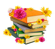 Pile of books with flowers Royalty Free Stock Photos