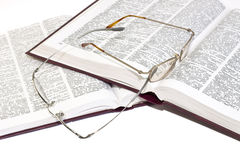 Pile of books with glasses Stock Photography