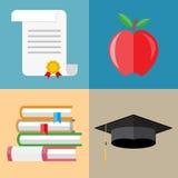 Pile of books, graduation cap, diploma, apple Stock Photo