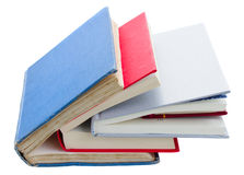 Pile of books. Pile of hardcover books isolated on white background royalty free stock photography