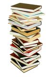 Pile of Books. High stack of books isolated on white background royalty free stock photography