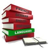 Pile of books - Languages. Three dimensional render of a pile of books for the concept of languages Stock Image