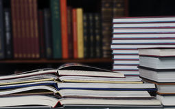 Pile of books in library Stock Photos