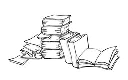 Pile of books. Line-art illustration royalty free illustration