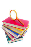 Pile of books and magnifier. This is pile of books and magnifier. It is theme of education Royalty Free Stock Photo