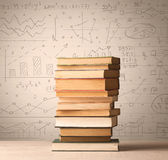 A pile of books with math formulas written in doodle style Stock Photography