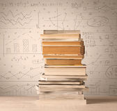 A pile of books with math formulas written in doodle style Royalty Free Stock Image