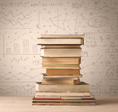 A pile of books with math formulas written in doodle style Royalty Free Stock Photos