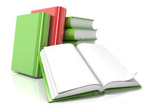Pile of books with open one. 3D render Stock Photo