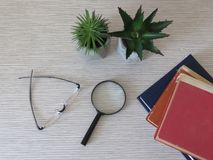 Pile of books, a pair of glasses, magnifying glass, magnifier and flowers on desk. Relaxation. Reading habits. Vision problems. stock photos