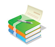 Pile of books with pen Stock Photography