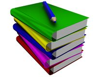 Pile of books and pencil. Stock Image