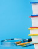 Pile of books, pencil and pen Royalty Free Stock Photo