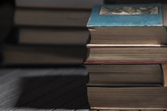 Pile of books. The pile of books lies on a table, a background, other pile, knowledge, library royalty free stock images
