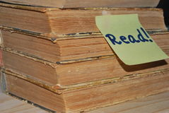 Pile of books with read post it Stock Images