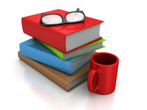 Pile Of Books With Red Coffee Or Tea Mug And Glasses Stock Image