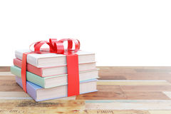 Pile of books with ribbon Royalty Free Stock Photos