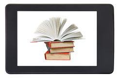 Pile books on screen of e-book reader isolated Stock Image