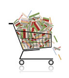 Pile of books in shopping cart for your design
