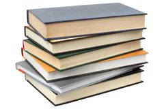 Pile of Books. Short stack of books isolated on white background royalty free stock photography