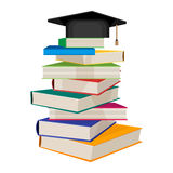 Pile of books with square academic hat on top vector illustration. Isolated on white background. Book stacked one on another, getting knowledge concept Royalty Free Stock Photo