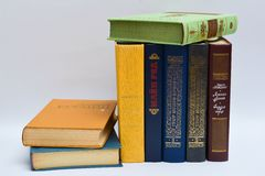 Pile of books on a table, Fiction,Verses,Poetry Stock Image