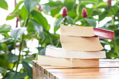 Pile of books on table Royalty Free Stock Photography