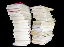 Pile of Books. Tall stack of old books isolated Stock Photo