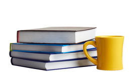 Pile of books and a tea cup Royalty Free Stock Photo