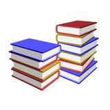 Pile of 3d books. Collection of many stacked books. 3d perspective view illustration isolated on white background Royalty Free Stock Photography