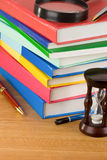 Pile of books on wood Royalty Free Stock Photos